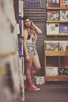 vintage record store photoshoot