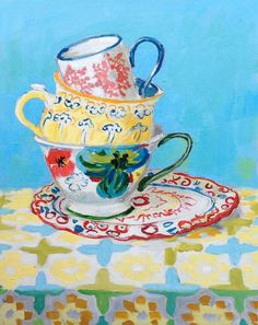 "three tea cups painting, 20""x16"""