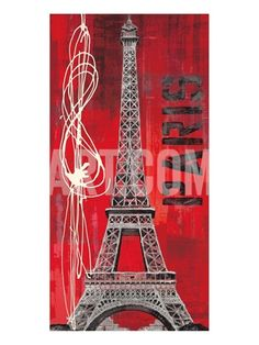 Red background Eiffel tower