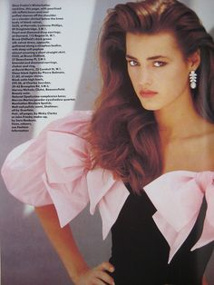 Yasmin Le Bon wearing diamond and pearl earrings in Vogue, 1987 Vogue Uk, Vintage Mode, Vintage Prom, 1990 Style, High Fashion Photography, Lifestyle Photography, Editorial Photography, Glamour Photography, Yasmin Le Bon