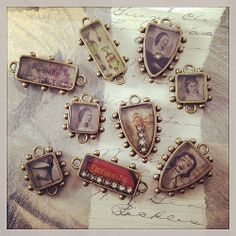 Poured some #iceresin last night. See anything you like? Dance pendant is for a custom order. #pendant #shield #hobnail #vintageimages #antiquebrass