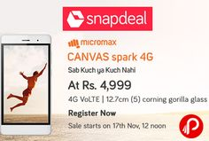 Snapdeal #Exclusive is offering Micromax Canvas Spark 4G Volte at Rs.4999. 12.7cm Corning Gorilla glass, 4G Volte, Metal Glass Cover, Android Marshallow at Rs.4999. Unlimited 4G Jio Offer.  http://www.paisebachaoindia.com/micromax-canvas-spark-mobile-4g-volte-at-rs-4999-snapdeal/
