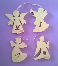 "Christmas tree ornaments, Christmas ornaments in wood ""Angels Christmas"" (Cod . NAT001 )"
