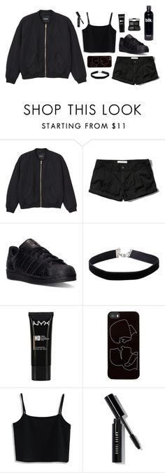 """Better In Black #3"" by anandptr on Polyvore featuring Monki, Abercrombie & Fitch, adidas, Miss Selfridge, NYX, Zero Gravity, Chicwish, Bobbi Brown Cosmetics, NARS Cosmetics and outfit"