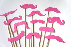 Mustache Party | booth props mustache bash set of 12 bubble gum pink mustaches on a ...