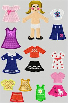 embroidered paper dolls