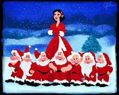 Snow White and the Seven Dwarfs have a very #WhiteChristmas