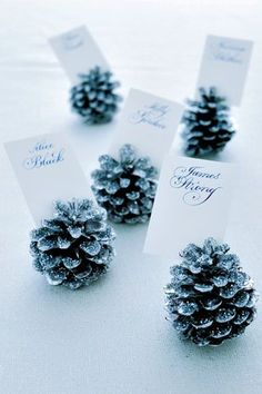 Guide guests to their seats with pretty glitter pine cones. Spray paint each one silver all over. Once the paint has dried, brush the tips of the cones with glue using a small paintbrush and dip into a bowl of loose glitter. Tap the pine cones to dust off any excess glitter. Write the names of your guests on white card cut to size and slot in between the seed scales.