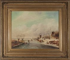 After Charles Leickert, Dutch winter figural scene  After Charles Leickert…