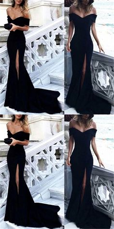 Off Shoulder Black Prom Dresses, Sexy Mermaid Side Slit Prom Dresses, Cheap Jersey Prom Dresses #promdresses #offshoulder #black #mermaid #sideslit