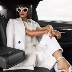 All In White Backseat Driver Outfit Idea