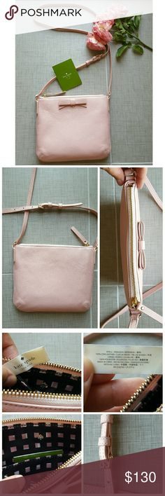 """Kate Spade Crossbody Purse Kate Spade """"North Court Bow Tenley"""" in rose jade pebbled leather with gold hardware & logo. Nordstrom exclusive, sold out. Authentic, purchased at Nordstrom. Only used a couple of times, in absolutely perfect condition! Can be used as a cross body or shoulder bag, strap is adjustable. For sizing please see 4th photo. Easily fits cell phone, cards, cash, lipstick, keys, etc. Pictures 1-3 are of actual purse for sale. Comes with care card. No trades. kate spade Bags…"""