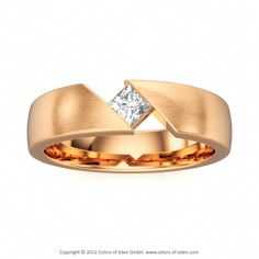 Mens Ring with Diamond in 18k Rose Gold Satined