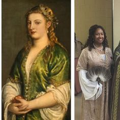 "Blog post on the 16th-century ""Venetian Turkish"" dress is up on www.labelladonna.net now! #labelladonnahistory #livinghistory #titian #mysca #16thcentury #venice #ladyingreen #venetianturkish"