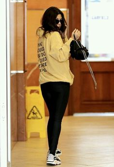 Kourtney Kardashian wearing Msftsrep Yellow Lights Hoodie, Prada Mini Vela  Backpack and Adidas Yeezy 700 Wave Runner Sneakers 60d7836d56
