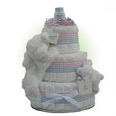 Precious Lamb 3-Tier Diaper Cake - http://www.247babygifts.net/precious-lamb-3-tier-diaper-cake-3/