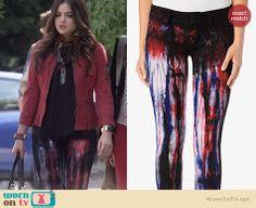 Aria's black printed jeans on Pretty Little Liars. Outfit Details: http://wornontv.net/24932 #PrettyLittleLiars #fashion #PLL