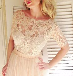 Ballade del Vientre blush pink bridal lace top pale pink lace blouse blush champagne bridal bolero jacket wedding bolero on Etsy, £126.60