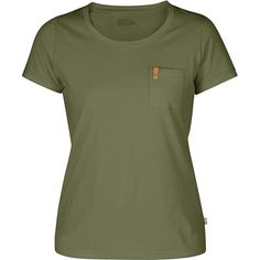Fjallraven Women's Ovik Tee ($40) ❤ liked on Polyvore featuring tops, t-shirts, shirts, green, fjällräven, green shirt, shirt tops, wide neck t shirts and t shirt