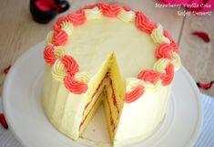 Tort de vanilie cu bezea elvetiana si capsune Strawberry Vanilla Cake, Desserts, Food, Home, Merengue, Sweets, Tailgate Desserts, Deserts, Essen