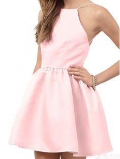 Good Cut A-line Pink Short Backless Homecoming Dress Party Dress#homecomingdresses #SIMIBridal