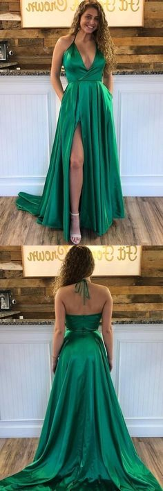2019 V Neck A Line Prom Dresses Sweep Train Slit, This dress could be custom made, there are no extra cost to do custom size and color Best Formal Dresses, A Line Prom Dresses, Formal Prom, Dance Dresses, Girls Dresses, Flower Girl Dresses, School Dresses, Bride Dresses, Classy Evening Gowns