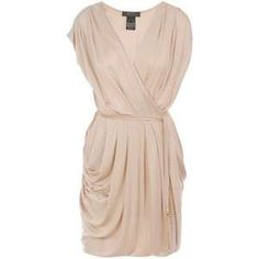 biege dress draped style
