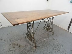 Vintage,oak,trestle table,tressel,table,dining table,work table,iron base,shop