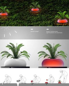First, it's a solar powered lawn lamp that is white during the day as it collects solar power-ups, then at night it  glows red to light your way