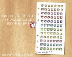 84 Alarm Clocks Mini Watercolor Stickers - Perfectly Fitting Filofax Personal and Kikki.k Medium Filofax, Watercolor Stickers, Alarm Clocks, Medium, Mini, Unique Jewelry, Handmade Gifts, Etsy, Clock