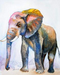 OOAK 8x10 Original Watercolor Elephant art Nursery by asho on Etsy, $20.00