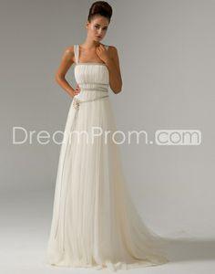 Elegant Empire Straps Watteau Train Pin Wedding Dresses Idreamprom.com