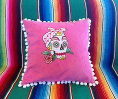 Day of the Dead Rockabilly Sugar Skull Embroidered Calavera Pillow in Pink on Etsy, $75.00 AUD