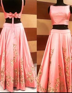 croptop lehenga designs Backless Blouse Designs - Satin Backless Blouse With A Bow For Lehenga Lehenga Choli Designs, Saree Blouse Designs, Blouse Back Neck Designs, Fancy Blouse Designs, Indian Designer Outfits, Designer Dresses, Designer Blouses For Lehenga, Designer Wear, Party Kleidung