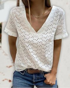 Eyelet Embroidery Backless Tied Detail T-shirt interesting wedding ideas, wedding guestlist, pegan wedding #weddinggown #weddingring #weddingdetails Uni, Sexy, V Neck Blouse, Womens Clothing Stores, Casual T Shirts, Sleeve Styles, Backless, Fashion Outfits, Clothes