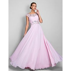 Homecoming Prom/Military Ball/Formal Evening Dress - Blushing Pink Plus Sizes A-line Scoop Floor-length Chiffon – USD $ 119.99