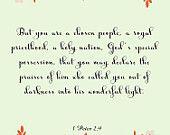 Bible Quote Art- 1 Peter 2:9- 8.5X11 Printable - BV-267