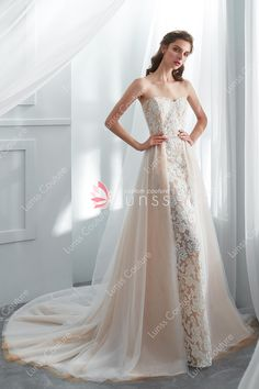 2e355abea5e Champagne Strapless Lace Sheath Wedding Gown with Detachable Tulle Overskirt