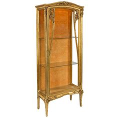 Louis Majorelle French Art Nouveau Giltwood and Glass Vitrine | From a unique collection of antique and modern vitrines at http://www.1stdibs.com/furniture/storage-case-pieces/vitrines/