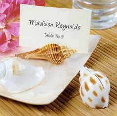 Rustic Seashell Beach Wedding Guest Favor Placecard Holders for a beach themed event