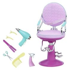 Our Generation Sitting Pretty Doll Salon Chair - Lilac Quilted Hearts : Target Baby Alive Dolls, Baby Dolls, Poupées Our Generation, American Girl Doll Sets, Baby Girl Toys, Little Girl Toys, Cool Toys For Girls, Cooler Style, Princess Toys