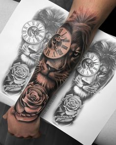 sleeve tattoos - Everything You're Looking For Here Lion tattoo / Lion Rose tattoo / realistic sleeve tattoo rose tattoo Lion And Rose Tattoo, Rose Tattoos For Men, Half Sleeve Tattoos For Guys, Full Sleeve Tattoos, Tattoo Sleeve Designs, Tattoo Designs Men, Lion Tattoo Design, Tatto For Men, Small Tattoos