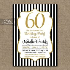 60e invitation anniversaire invitation de fte danniversaire de 60th birthday invitations black gold glitter 60 bday invites sixty any age stopboris Choice Image