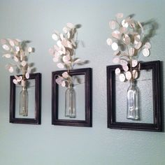 DIY Hanging picture frame vases. I LOVE this!