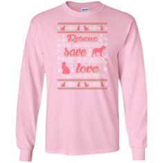 Christmas Rescue Save Love - Long Sleeve T Shirt, T-Shirts. #rescue #rescuedog #animal #pets #fashion #shopping #longsleevetees