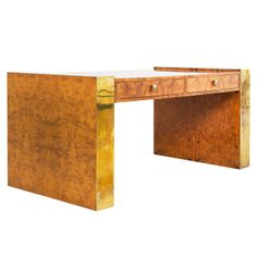 Writing Desk in Burlwood and Brass by Jean Claude Mahey | From a unique collection of antique and modern desks and writing tables at http://www.1stdibs.com/furniture/tables/desks-writing-tables/