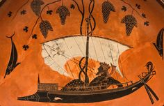 A masterpiece of ancient Athenian black-figure pottery painting, the interior of this drinking-cup (kylix) by Exekias depicts Dionysos sailing with vines and dolphins, no doubt intended to reference Homer's 'wine dark sea' in the drinker's mind.