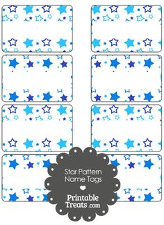 Blue Star Pattern Name Tags from PrintableTreats.com