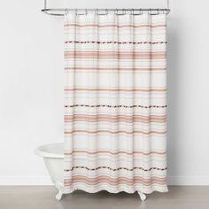 Pom Pom Shower Curtain Gold – Hearth & Hand with Magnolia, Gray - Modern Target Shower Curtains, Striped Shower Curtains, Shower Curtain Rods, Shower Rod, Blush Bathroom, Boho Bathroom, Grey Bathrooms, Bathroom Ideas, Bathroom Inspo