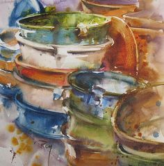 Catherine Rey.          Watercolor. Oh just love these colors, mixtures thanks